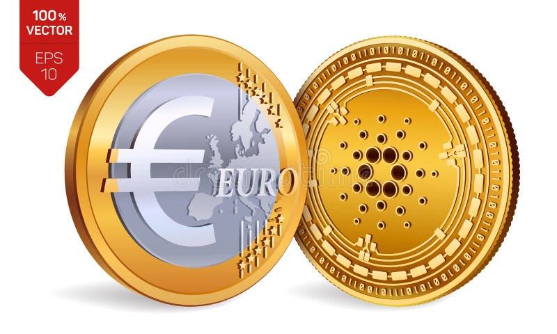 Cardano 被撕毁的背景欧洲半老 3D等量物理硬币 数字式货币 Cryptocurrency 与Cardano和欧洲标志isola的金黄硬币 库存例证