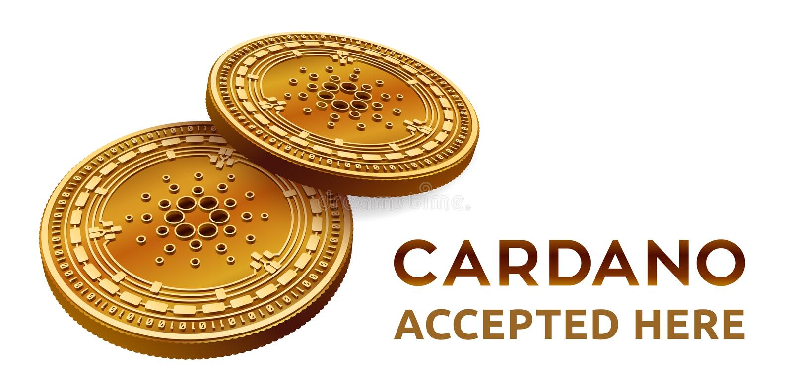Cardano. Accepted sign emblem. Crypto currency. Golden coins with Cardano symbol isolated on white background. 3D isometric Physic stock illustration