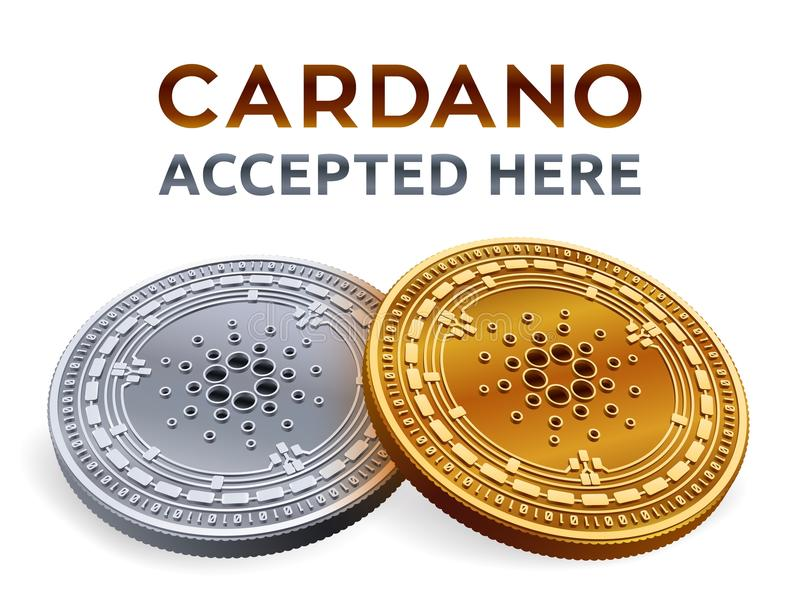 Cardano. Accepted sign emblem. Crypto currency. Golden and silver coins with Cardano symbol isolated on white background. 3D isome stock illustration