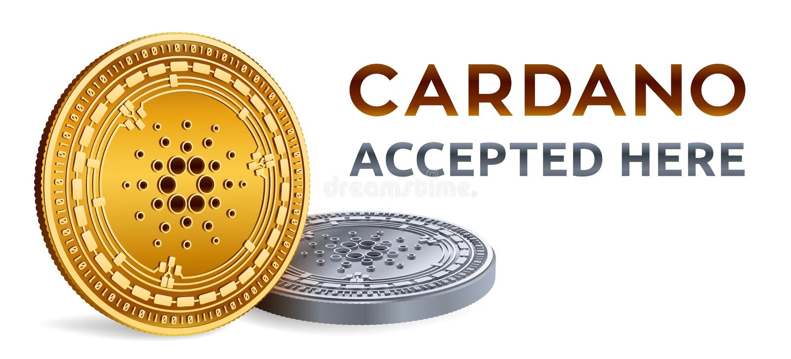Cardano. Accepted sign emblem. Crypto currency. Golden and silver coins with Cardano symbol isolated on white background. 3D isome vector illustration