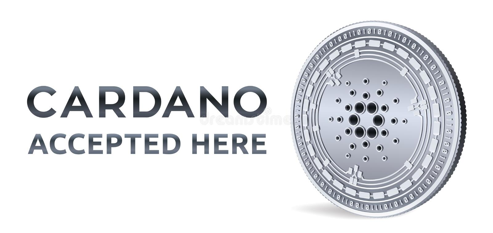 Cardano. Accepted sign emblem. Crypto currency. Silver coin with Cardano symbol isolated on white background. 3D isometric Physica stock illustration