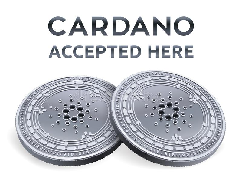 Cardano. Accepted sign emblem. Crypto currency. Silver coins with Cardano symbol isolated on white background. 3D isometric Physic stock illustration