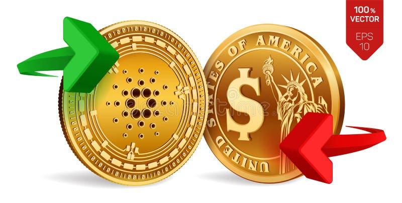 Cardano al cambio del dollaro Cardano Moneta del dollaro Cryptocurrency Monete dorate con il simbolo del dollaro e di Cardano con illustrazione di stock