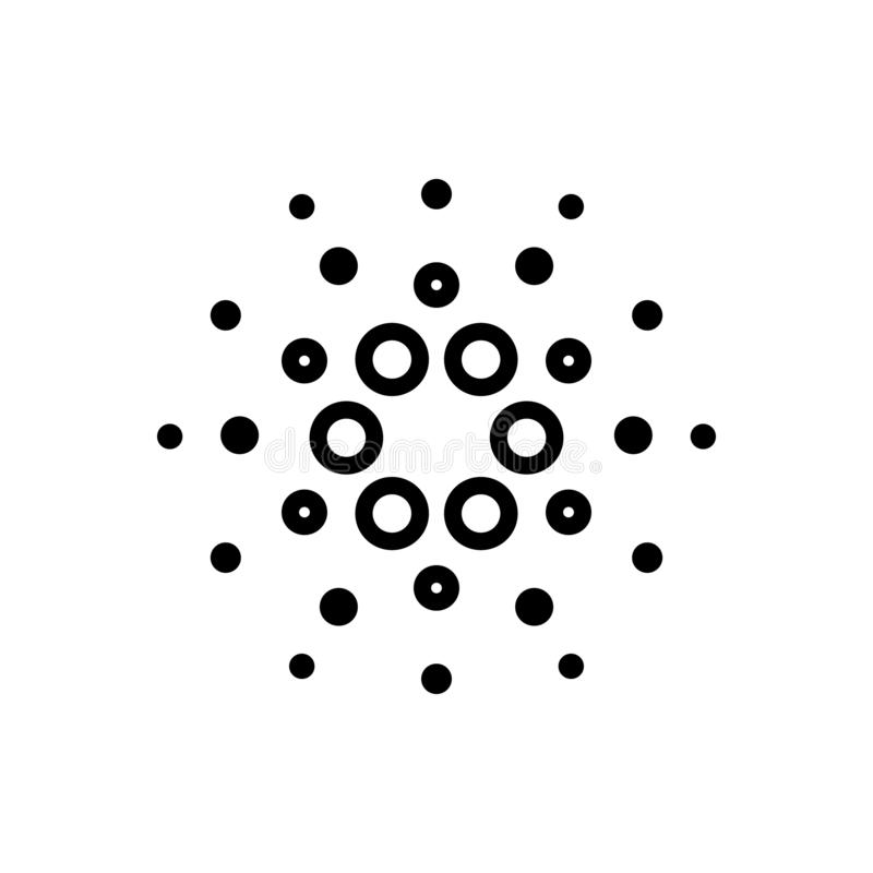 Black line icon for Cardano coin, digital and currency royalty free illustration