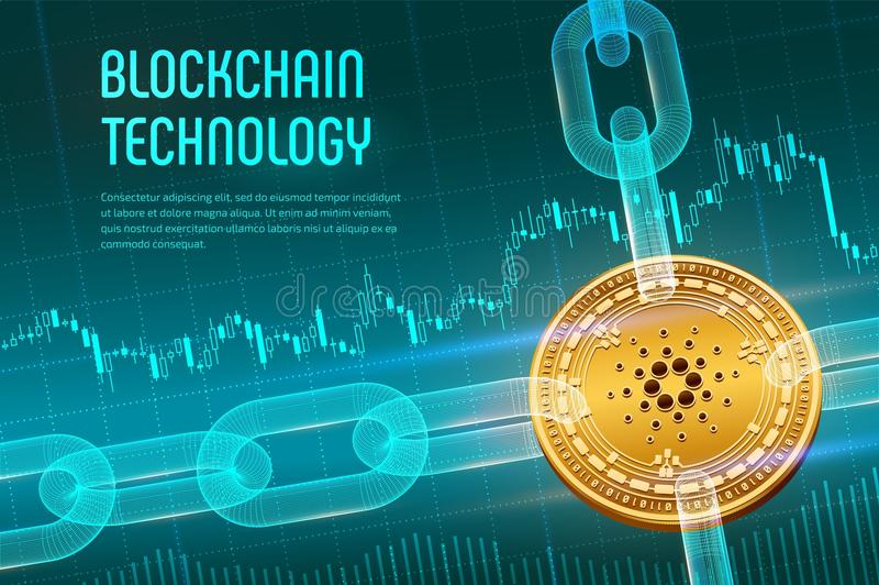 Cardano. Crypto currency. Block chain. 3D isometric Physical golden Cardano coin with wireframe chain on blue financial background stock illustration