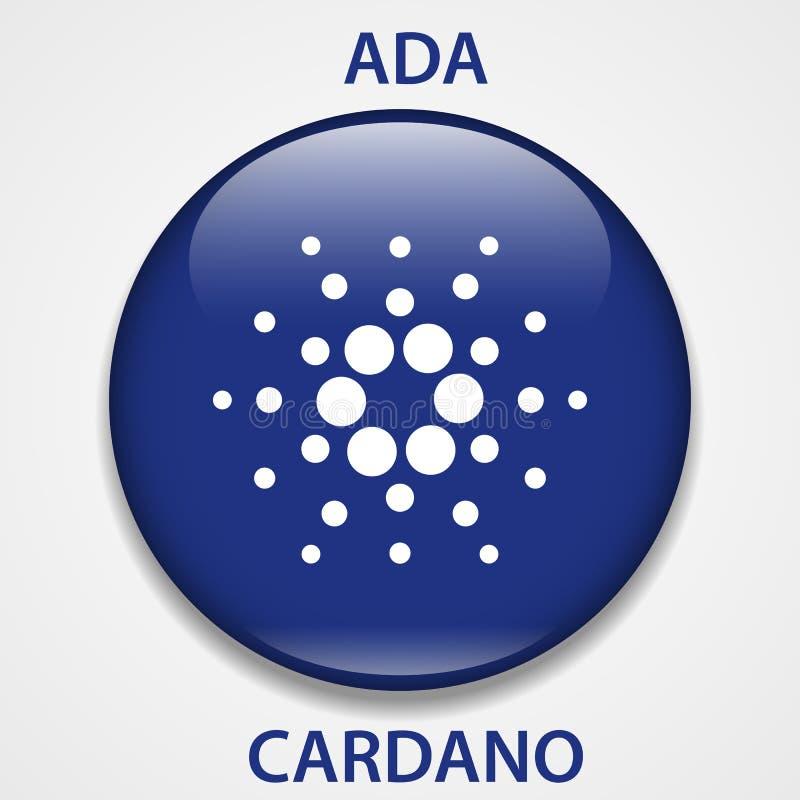 Cardano cryptocurrency blockchain icon. Virtual electronic, internet money or cryptocoin symbol, logo.  stock illustration