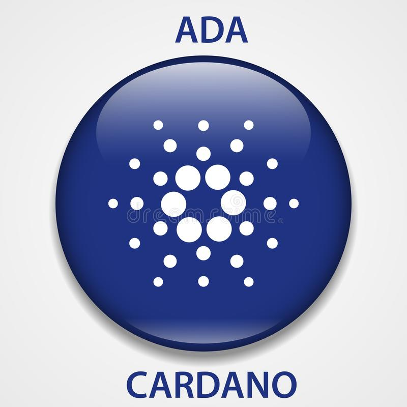Cardano-cryptocurrency blockchain Ikone Virtuelles elektronisches, Internet-Geld oder cryptocoin Symbol, Logo stock abbildung