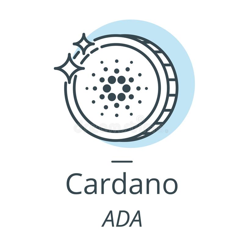 Cardano cryptocurrency coin line, icon of virtual currency royalty free illustration