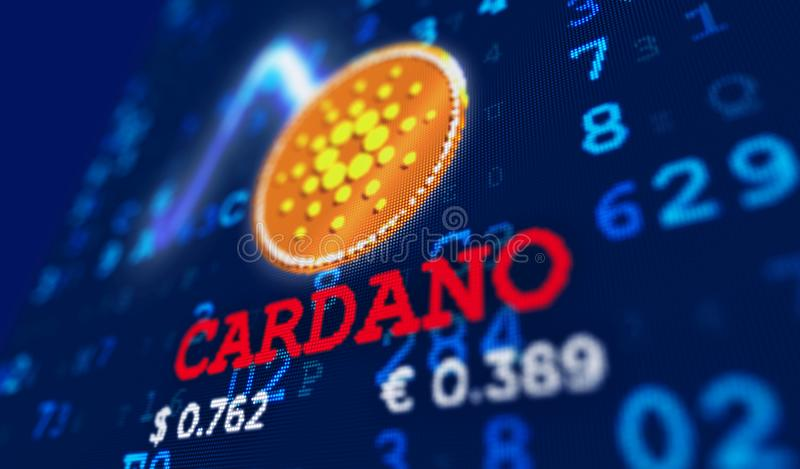 Cardano currency coin and name stock illustration