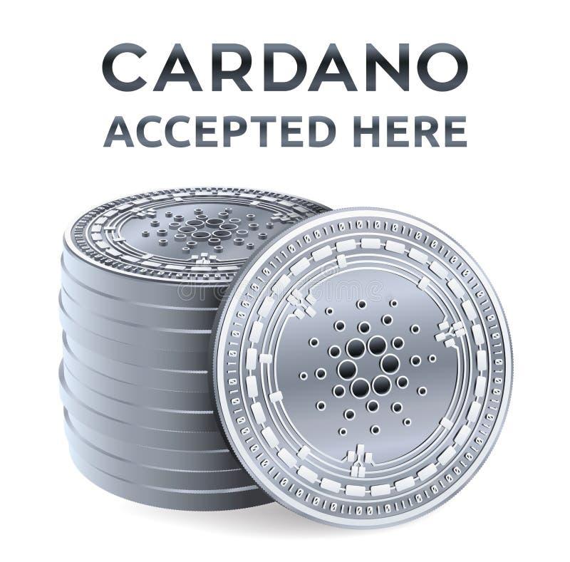 Cardano Emblema accettato del segno Valuta cripto Pila di monete d'argento con il simbolo di Cardano isolate su fondo bianco royalty illustrazione gratis