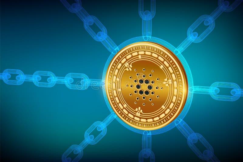 Cardano Moneda Crypto Cadena de bloque moneda física isométrica de 3D Cardano con la cadena del wireframe Concepto de Blockchain  libre illustration
