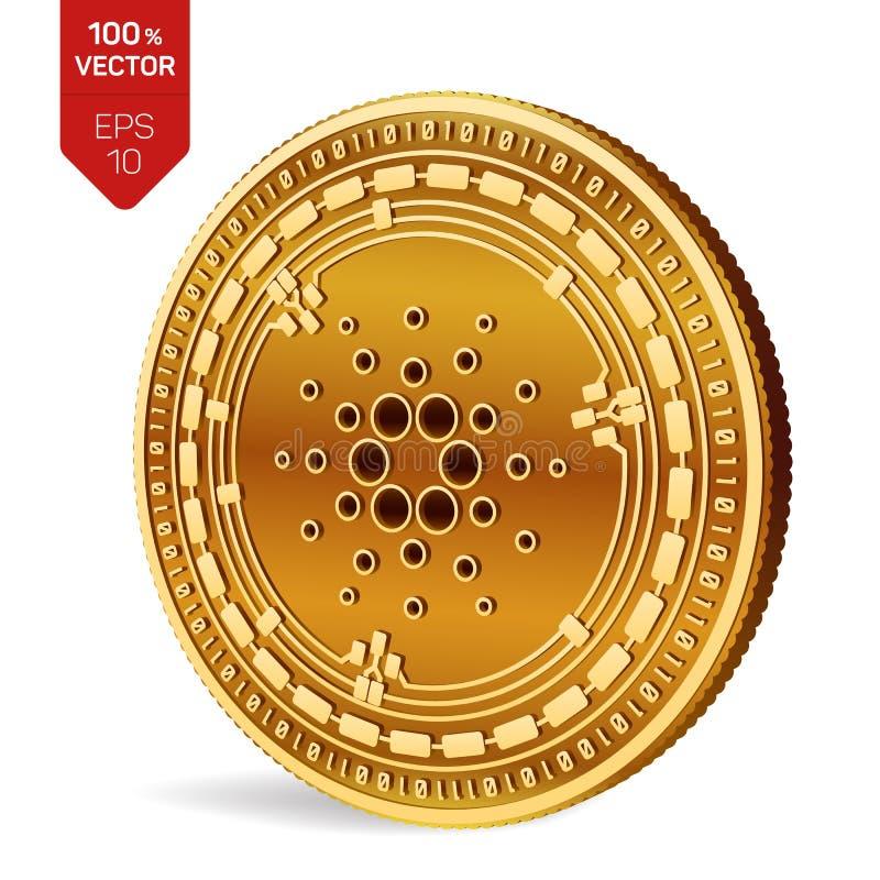 Cardano moneda física isométrica 3D Moneda de Digitaces Cryptocurrency Moneda de oro con el símbolo de Cardano aislada en el back libre illustration