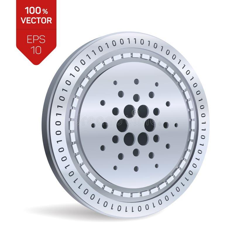Cardano pièce de monnaie 3D physique isométrique Devise de Digital Cryptocurrency Pièce de monnaie argentée de Cardano Illustrati illustration stock