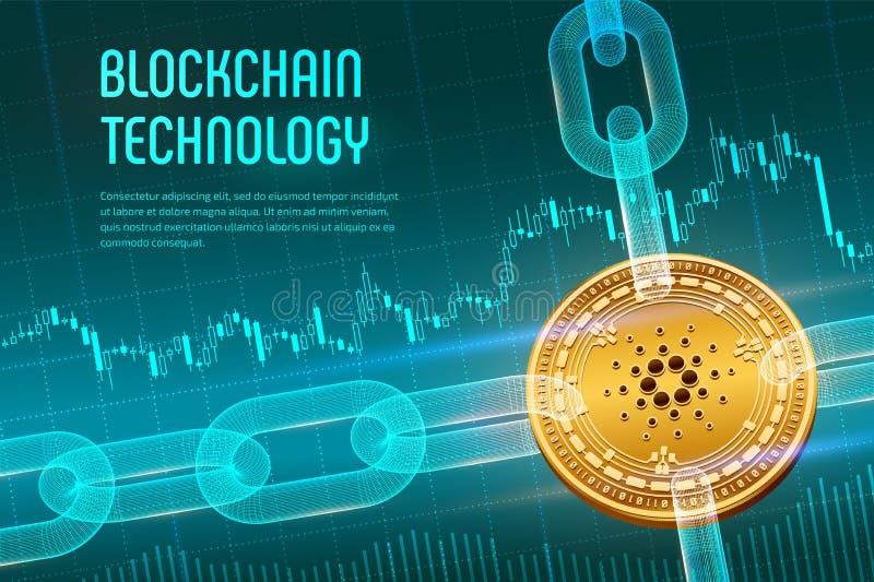 Cardano Schlüsselwährung Block-Kette isometrische körperliche goldene Cardano Münze 3D mit wireframe Kette auf blauem Finanzhinte stock abbildung