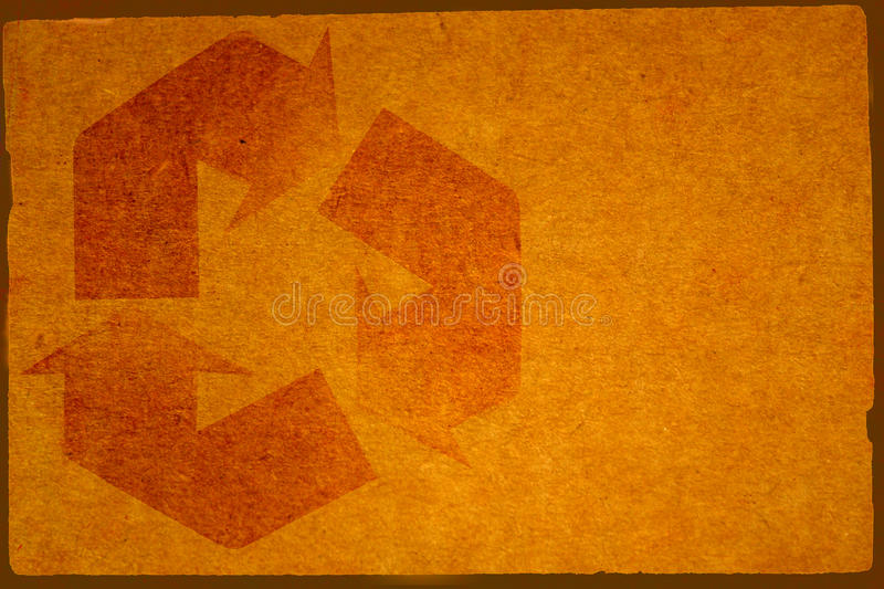Cardboard Background with Recycle Symbol stock images