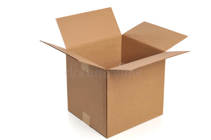 Cardboard box. Opened isolated on a white background stock photo