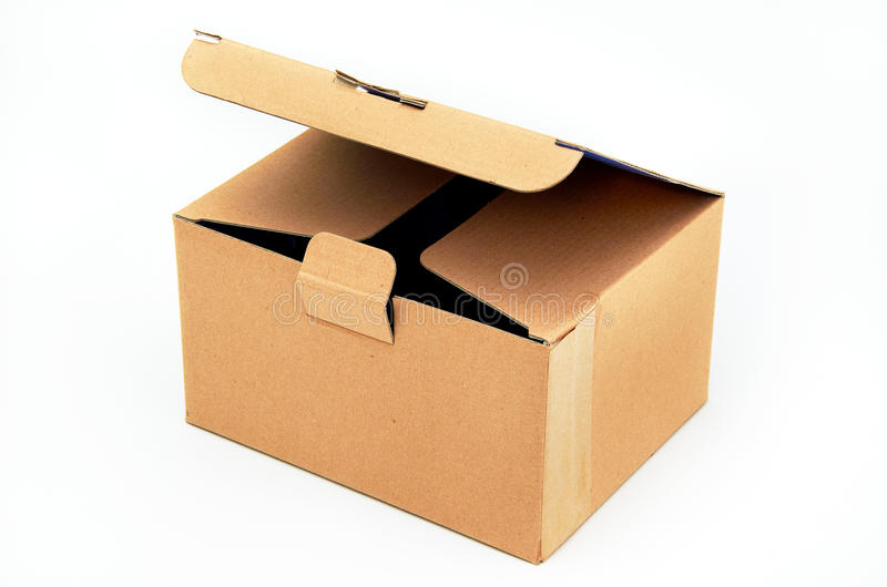 Cardboard box. One cardboard box on clean background