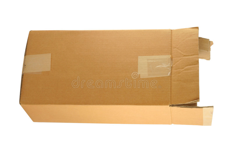 Cardboard box. On pure white background royalty free stock photo