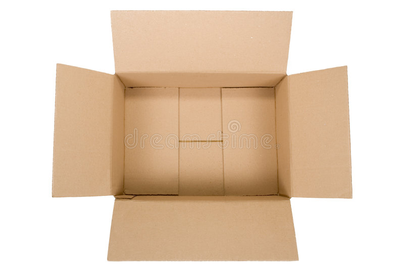 Cardboard box. Top view of an empty cardboard box isolated on white background stock photo