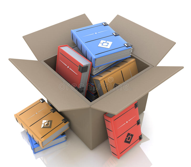 Cardboard box with books stock photography