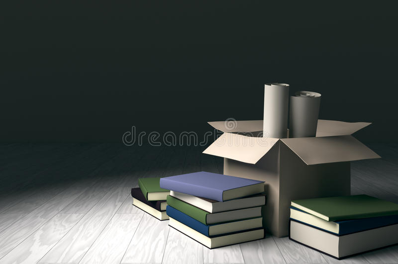 Cardboard box with books and roll papers. Cardboard box with books and roll papers on white wood floor under spot light. Design to convey sense of uncertain royalty free illustration