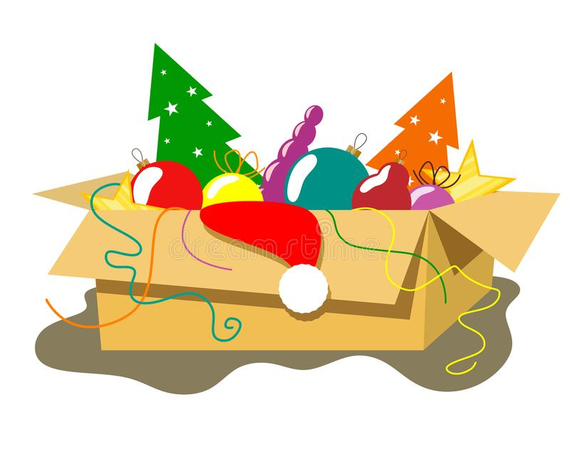 Cardboard box with Christmas decorations and decor in the style of flat. royalty free illustration
