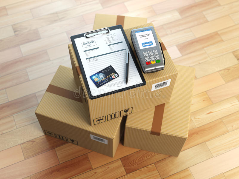 Cardboard box, clipboard with receiving form and pos terminal an. D credit card. Delivery concept. 3d illustration stock illustration