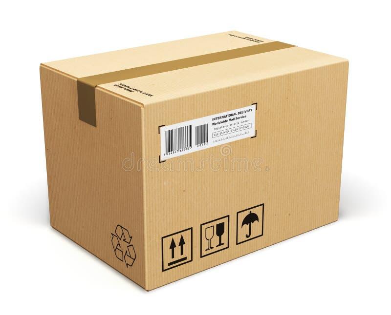 Cardboard box. Corrugated cardboard box package isolated on white background royalty free illustration