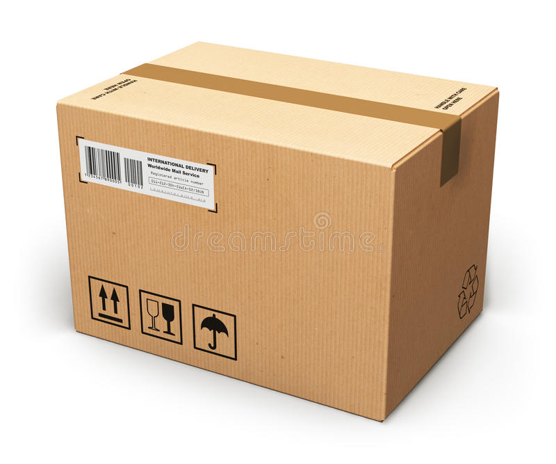 Cardboard box. Creative abstract shipping, logistics and retail parcel goods delivery commercial business concept: corrugated cardboard box package isolated on stock illustration