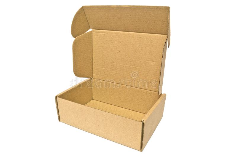 Cardboard box for delivery service, moving, package or gifts isolated on a white. Background royalty free stock photography