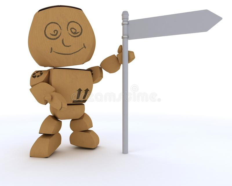 Download Cardboard Box Figure With Blank White Road Sign Stock Illustration - Illustration of cardboard, carton: 22937865