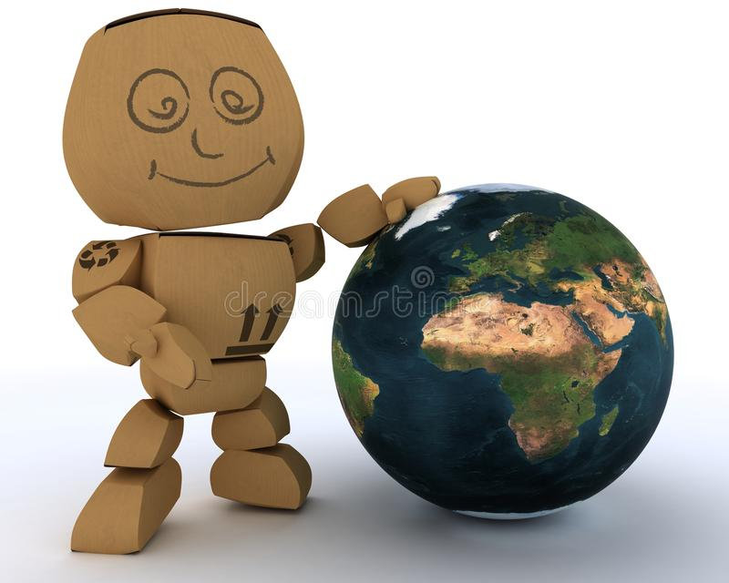 Download Cardboard Box Figure With Globe Stock Illustration - Illustration: 23295115