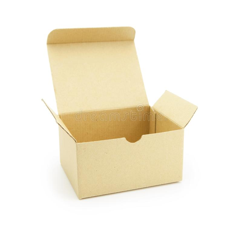 Cardboard box with flip open lid,. Lid open, on white royalty free stock images