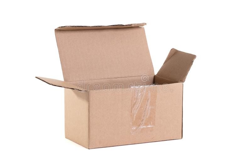 Cardboard box with flip open lid, lid open royalty free stock photo