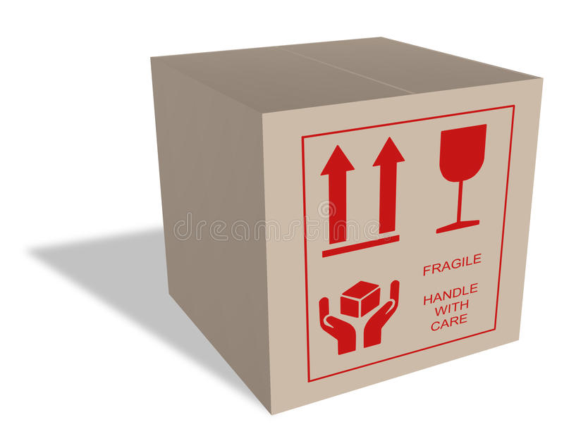 Cardboard Box With Fragile Content Stock Photography