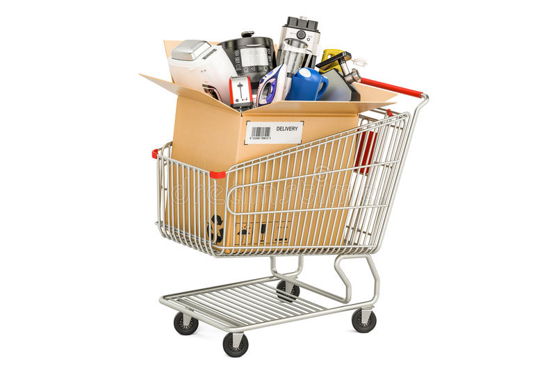 Cardboard box with household and kitchen appliances in the shopping cart. 3D rendering stock illustration