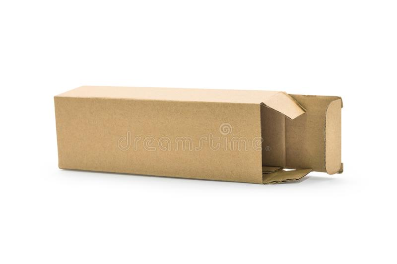 Cardboard box isolated on white background. Template of long box for your design. Clipping paths object stock images