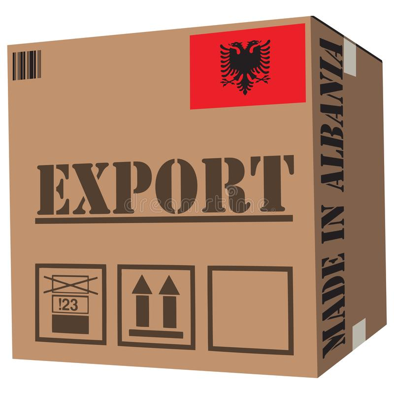 Cardboard box Made in Albania. With symbols Export vector illustration
