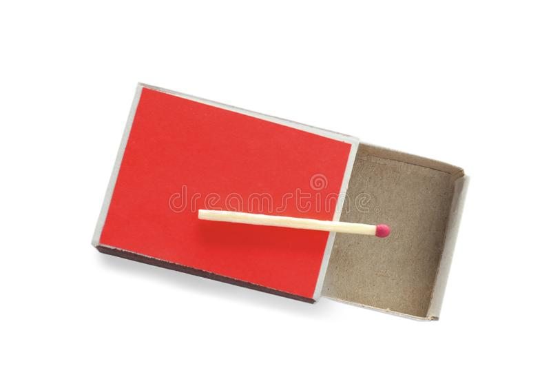 Cardboard box with match on white background, top view stock image