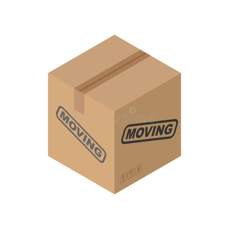 Cardboard box Moving isolated. pasteboard case on white background vector illustration