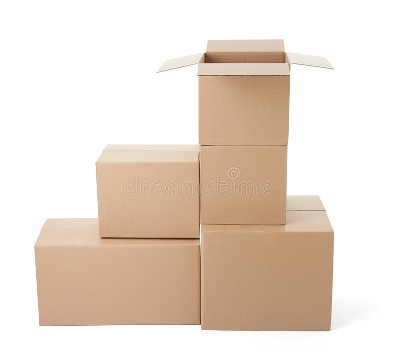 Cardboard box package moving transportation delivery stack royalty free stock photo