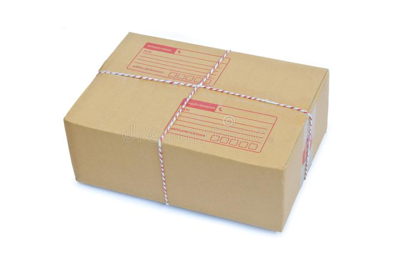 Cardboard box package parcel isolated on white stock image