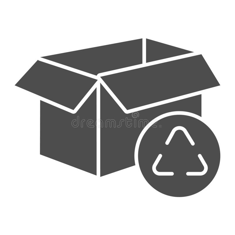 Cardboard box recycle solid icon. Package recycling vector illustration isolated on white. Paper box glyph style design. Designed for web and app. Eps 10 royalty free illustration