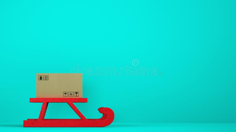 Cardboard box on red Christmas sleigh with cyan background. Cardboard box on the red sledge ready to be shipped stock photos
