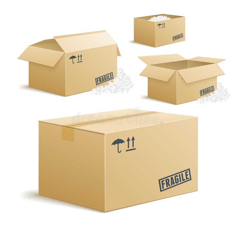 Cardboard box set on transparent background, closed and unpacked stock illustration