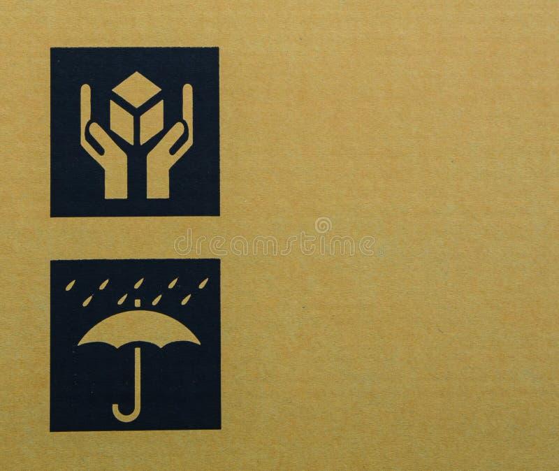 Cardboard box symbols royalty free stock photography