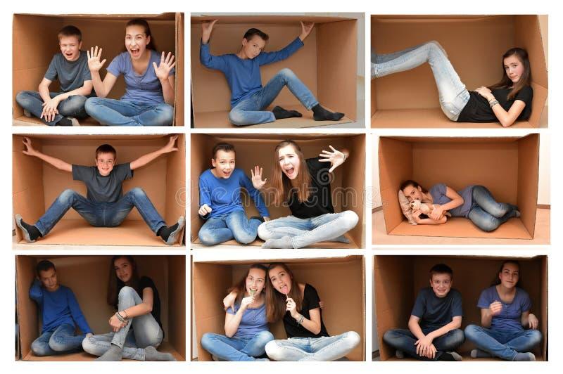 In a cardboard box. Teenagers in a cardboard box, collage