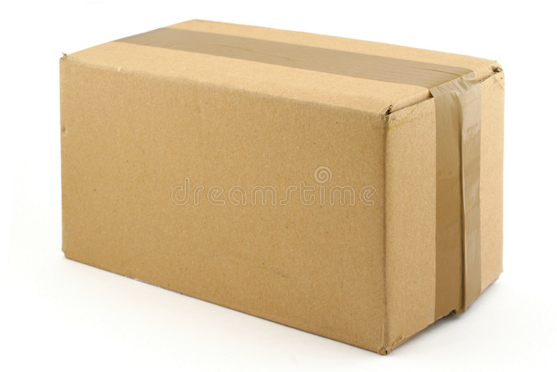 Cardboard box on white. Close up of cardboard box on white background stock photo