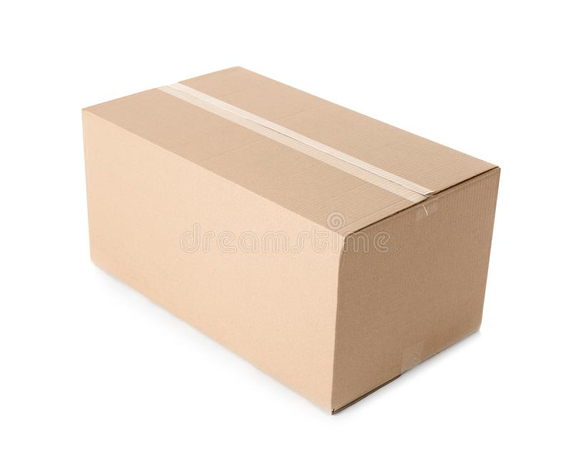 Cardboard box on white background royalty free stock images