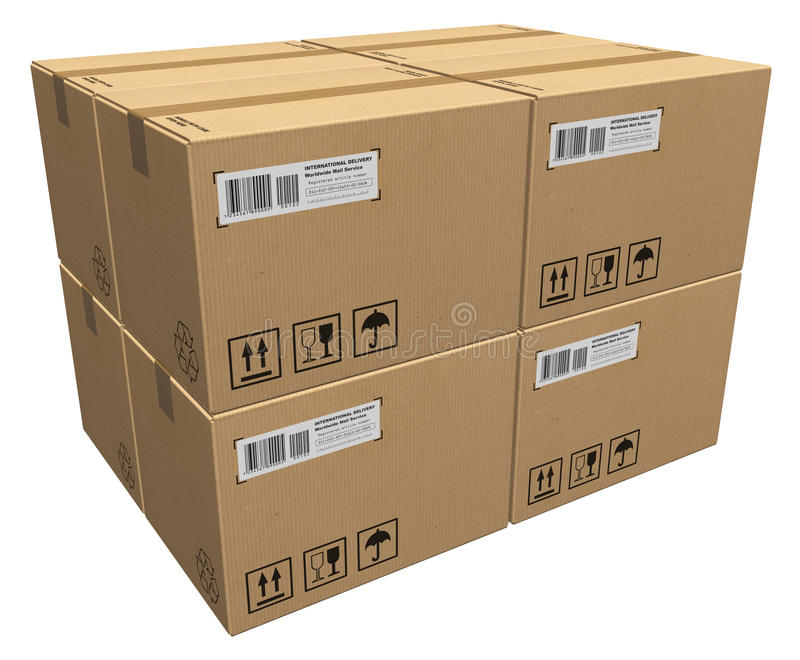 Cardboard boxes. Isolated over white background vector illustration
